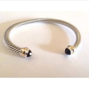 DY Black Onyx &14k Bangle 5mm cable Sz Medium